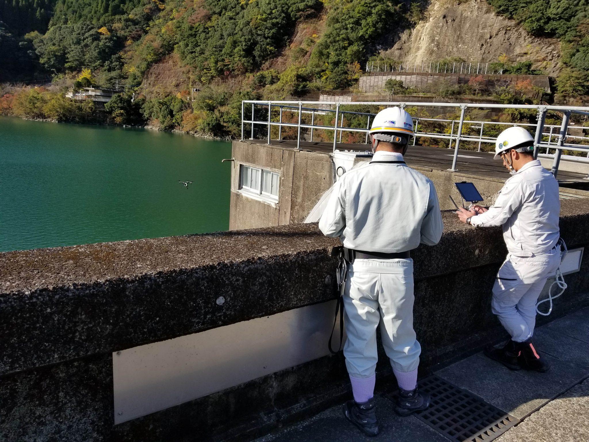 ドローン、ダム損傷調査状況